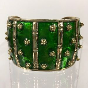 Lilly Pulitzer Green Enameled Gold Bamboo Cuff